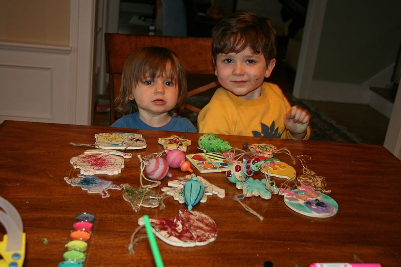 Kids with their masterpieces